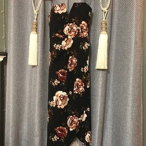 "Never Worn! ""Belle"" Black Floral Strapless Dress"